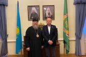 Состоялась встреча митрополита Астанайского Александра с заместителем председателя Ассамблеи народов Евразии Младжаном Джорджевичем