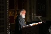 В понедельник первой седмицы Великого поста Святейший Патриарх Кирилл молился за уставным богослужением в Храме Христа Спасителя