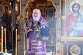 В Неделю Крестопоклонную Святейший Патриарх Кирилл совершил Литургию в Александро-Невском скиту