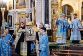 Предстоятель Русской Церкви совершил утреню с чтением акафиста Пресвятой Богородице в Храме Христа Спасителя