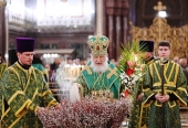 В канун Недели ваий Святейший Патриарх Кирилл совершил всенощное бдение в Храме Христа Спасителя
