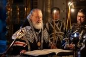 В канун Великой Среды Святейший Патриарх Кирилл принял участие в богослужении в Храме Христа Спасителя