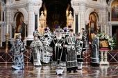В Великую Среду Предстоятель Русской Церкви совершил Литургию в Храме Христа Спасителя