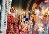 В праздник Светлого Христова Воскресения Святейший Патриарх Кирилл совершил Пасхальную великую вечерню в Храме Христа Спасителя