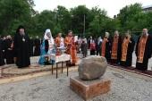 Глава Казахстанского митрополичьего округа совершил освящение закладного камня в основание памятника благоверному князю Александру Невскому в Алма-Ате