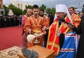 Патриарший экзарх всея Беларуси освятил закладной камень в основание часовни-памятника в честь благоверного князя Александра Невского в Гомеле