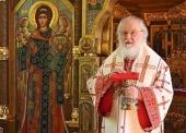В праздник Владимирской иконы Божией Матери Святейший Патриарх Кирилл совершил Литургию в Александро-Невском скиту