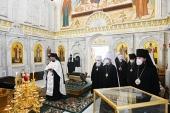 Члены Священного Синода совершили литию по новопреставленным архиепископу Чимкентскому Елевферию, архиепископу Бакинскому Александру и епископу Аркадию (Афонину)