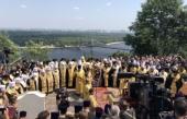В канун Дня Крещения Руси Блаженнейший митрополит Онуфрий совершил праздничный молебен на Владимирской горке в Киеве