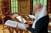 В день памяти преподобного Серафима Саровского Святейший Патриарх Кирилл совершил молебное пение в Александро-Невском скиту близ Переделкина