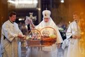 В праздник Преображения Господня Предстоятель Русской Церкви совершил Литургию в Храме Христа Спасителя