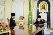 Святейший Патриарх Кирилл принял заместителя председателя Синодального отдела по взаимодействию с Вооруженными силами иерея Олега Овчарова