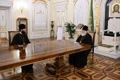 Святейший Патриарх Кирилл провел рабочую встречу с руководителем Управления Московской Патриархии по зарубежным учреждениям