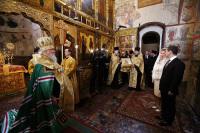 Обращение Святейшего Патриарха Алексия к Президенту России Дмитрию Медведеву после молебна в Благовещенском соборе Московского Кремля