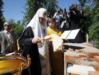 Святейший Патриарх Кирилл совершил чин закладки первого в России храма во имя святого мученика Виктора