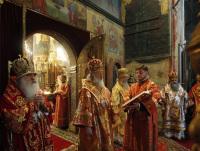 В праздник святых равноапостольных Кирилла и Мефодия Святейший Патриарх Кирилл совершил Божественную литургию в Успенском соборе Кремля и молебен на Красной площади