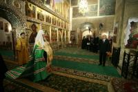 Обращение Святейшего Патриарха Алексия к президенту России Владимиру Путину после молебна в Иверском соборе Валдайского монастыря