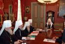 В рабочей Патриаршей резиденции в Чистом переулке состоялось заседание Священного Синода