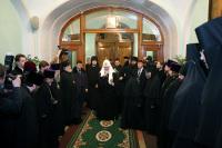 Святейшего Патриарха Кирилла приветствовали насельницы Иоанновского ставропигиального монастыря на Карповке
