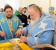 Святейший Патриарх Кирилл совершил Божественную литургию в Курской Коренной пустыни
