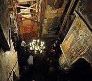 Святейший Патриарх Кирилл осмотрел древние фрески Спасо-Преображенского храма Полоцкого Евфросиниевского монастыря