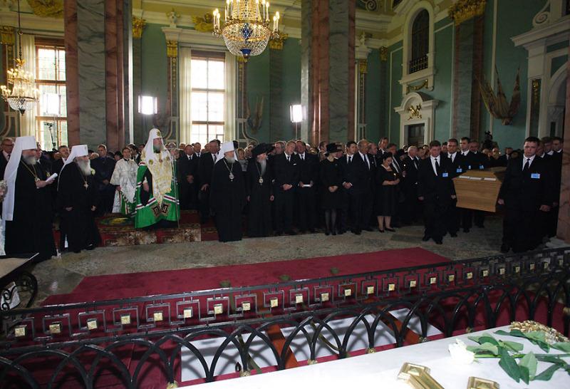 Церемония перезахоронения императрицы Марии Федоровны в Петропавловском соборе