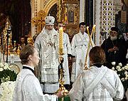 В Храме Христа Спасителя началось отпевание Святейшего Патриарха Алексия