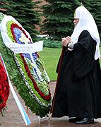 В день начала Великой Отечественной войны Святейший Патриарх Алексий возложил венок к могиле Неизвестного солдата