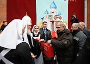 В день праздника Пасхи Святейший Патриарх Кирилл посетил Центр социальной адаптации для бездомных
