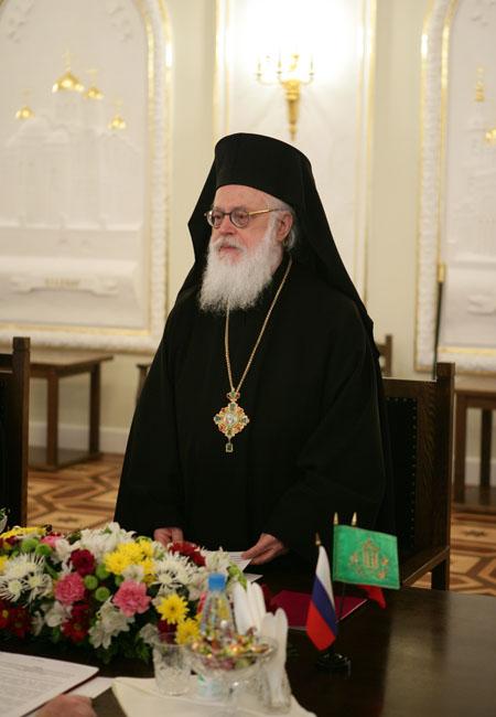 Встреча Святейшего Патриарха Алексия с Предстоятелем Албанской Православной Церкви