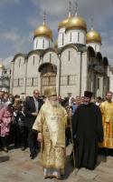 В день свв. Кирилла и Мефодия Святейший Патриарх Алексий совершил литургию в Успенском соборе Кремля и возглавил крестный ход на Славянскую площадь