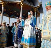 Святейший Патриарх Кирилл совершил Божественную литургию в Почаевской лавре
