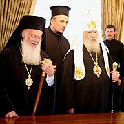 Патриарх Константинопольский Варфоломей и Святейший Патриарх Алексий ответили на вопросы журналистов
