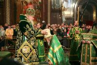 В день праздника Входа Господня в Иерусалим Святейший Патриарх Алексий удостоил ряд клириков столичных храмов различных церковных наград