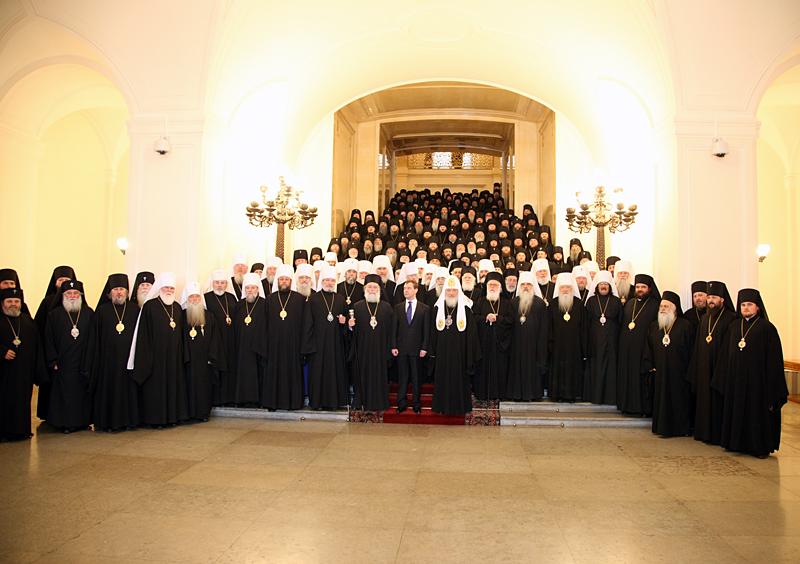 Прием участников Поместного Собора в Георгиевском зале Большого кремлевского дворца
