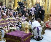 В Великий четверг Предстоятель Русской Православной Церкви совершил чин омовения ног