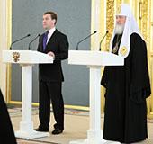 Архипастыри — участники Поместного Собора присутствовали на приеме в Георгиевском зале Большого кремлевского дворца