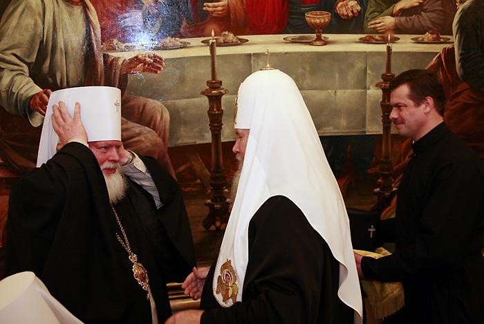 Награждение архиереев Русской Православной Церкви в день тезоименитства Святейшего Патриарха Алексия